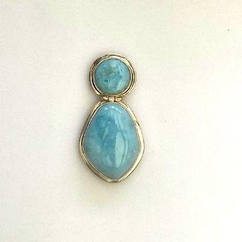 Exceptional 2 Stone Larimar Pendant